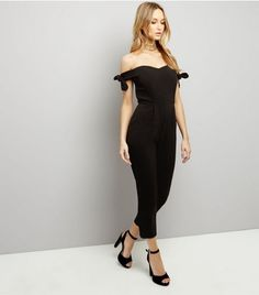 Black Bardot Neck Tie Sleeve Jumpsuit  | New Look