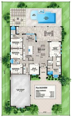 4 Bed House Plan with FronttoBack Views Floor Master Suite CAD Available Florida PDF Southern Split Bedrooms Architectural Designs Florida House Plans, Pool House Plans, 4 Bedroom House Plans, House Plans One Story, New House Plans, Dream House Plans, Story House, Modern House Plans, Florida Home