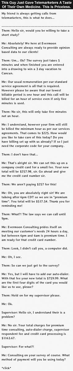 How To Deal With Telemarketers. This Guy Nails it. via @sales_eu_org