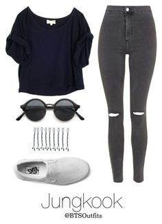 """""""Disneyland with Jungkook"""" by btsoutfits ❤ liked on Polyvore featuring Elizabeth and James, Topshop, Vans and BOBBY"""