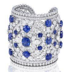 Graff diamond and sapphire important cuff.