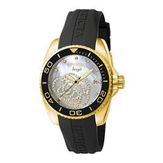 Women  Watches - Invicta Womens 0489 Angel Collection Cubic ZirconiaAccented Watch With Black PU Band >>> See this great product. (This is an Amazon affiliate link)