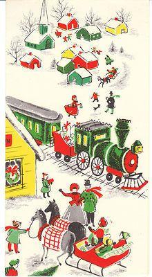 Vintage Christmas Card Train Depot Sleigh Horses Village Mid-Century Unused USA