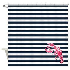 Preppy Lobstah Shower Curtain Lilly Pulitzer Lobstah Roll inspired