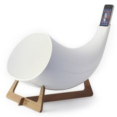 The White Megaphone is a stunning and unique amplifier for iPhone and iPod Touch devices. The beautifully designed Megaphone has been created by. Iphone 3, White Iphone, Ipod Touch, 20 Year Anniversary Gifts, 20th Anniversary, Parasols, Ipad, Egg Chair, Cool Gadgets