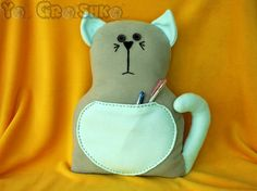 Handmade cat shaped pillow by YaGrashka on Etsy