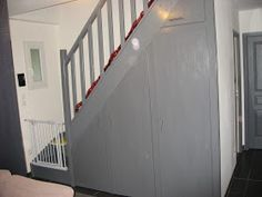 As with every other area of your property the steps will ultimately put on out and have to be replaced or refinished. This is also true for that basement stairs. Home Organisation, Basement Stairs, Storage Shelves, Storage Ideas, Habitats, Tiny House, Easy Diy, Art Deco, Construction