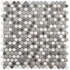 "Astraea 0.62"" x 0.62"" Porcelain Mosaic Tile in Gray and White"