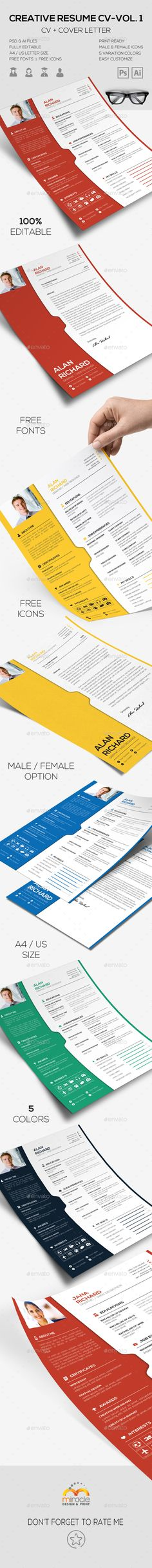 Resume / CV Template Cv template, Resume cv and Simple resume template