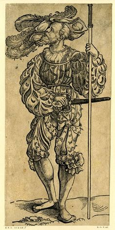 A Landsknecht wearing a hat with long feathers; WL figure, looking to left, holding a pole in his left hand; from a series of fifty woodcuts...