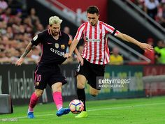 Barcelona's Argentinian forward Lionel Messi vies with Athletic Bilbao's French…