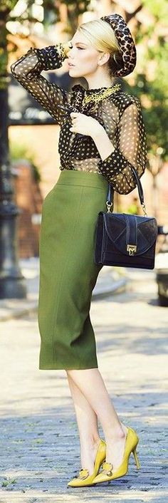 Lanvin : Black/Yellow polka dots and Olive Green Pencil Skirt, Leopard-print hat -- I need outfits like this. Retro Mode, Mode Vintage, Mode Chic, Mode Style, Love Fashion, Vintage Fashion, Womens Fashion, Steampunk Fashion, French Fashion