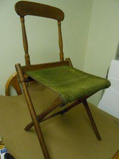 Original Civil War Era Carpeted Folding Camp Stool. ( because a camp chair has arms!)