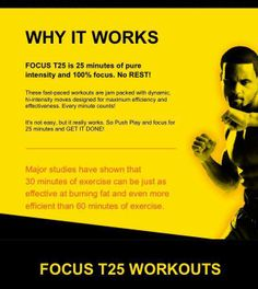 Focus workout - awesome sweat your butt off workout in ONLY 25 minutes! Get yours or join my Team Beachbody Fitness Quotes, Fitness Motivation, T25 Workout, Workout Regimen, I Work Out, Workout Programs, Fitness Programs, Getting Things Done, Fitness Diet