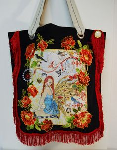 Sale 75 Off Magical Canvas Black Tote Bag Hand #Painted #Fabric #Applique Design by paulagsell, $35.00