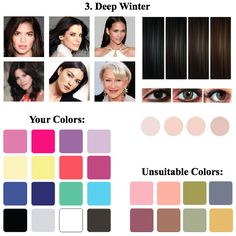 purple hair color for a greenish hazel eyed, cool spring toned Clear Winter, Dark Winter, Warm Autumn, Color Type, Deep Winter Colors, Winter Typ, Seasonal Color Analysis, Jewel Tone Colors, Hair Color Purple