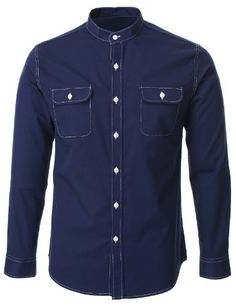 Chinese Collar Shirt, Mandarin Collar Shirt, Denim Button Up, Button Up Shirts, Guy Names, Uk Fashion, Casual Shirts, Pocket, Cotton