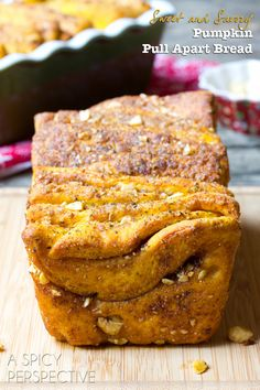 Pumpkin Bread Recipe ~ it's a savory-sweet Pull Apart Bread... This Pumpkin Bread would even make wonderful edible gifts this season!