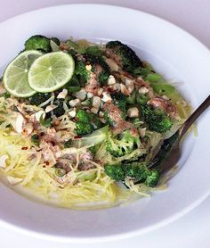 No need for takeout; this low-calorie, noodle-free Paleo pad thai is waistline-friendly and just as tasty. It uses spaghetti squash instead of noodles to save on calories. This lower-carb riff on the classic rice noodle dish has over 300 percent of your recommended vitamin C and vitamin A for the day, more than 50 percent of your calcium, and over 30 percent of your iron.  Calories: 367 Source: Lizzie Fuhr