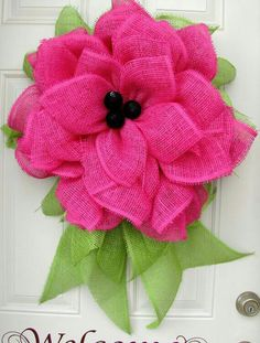 Items similar to Bright Pink Summer Fun Paper Mesh Indoor Flower Wreath! on Etsy Burlap Crafts, Wreath Crafts, Diy Wreath, Wreath Ideas, Mesh Ribbon Wreaths, Deco Mesh Wreaths, Burlap Wreaths, Pink Summer, Summer Fun