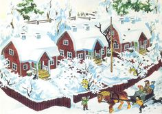 Winter scene from Christmas in Noisy Village (Jul i Bullerbyn). Story by Astrid Lindgren, illustrated by Ilon Wikland. Swedish Christmas, Christmas Art, Vintage Christmas, Christmas Pictures, Christmas Illustration, Children's Book Illustration, Poster Shop, Pippi Longstocking, Retro Images