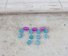 stones choker necklace, fuchsia agate beads and sky blue agate drops, boho romantic  minimal choker by MICETTESGARDEN on Etsy