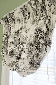 "Black and White Toile Country French Pastoral Scene, Round Balloon Curtain Valance,   24"" to 36"" window"