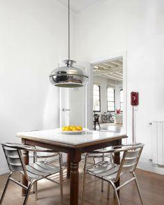 esszimmer minimalistisch metall möbel küchenstuhl tisch