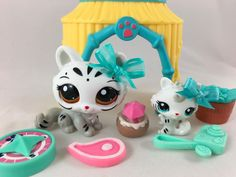 Littlest Pet Shop ULTRA RARE White Tiger Mommy #3585 & Baby #3586 w/Accessories #Hasbro