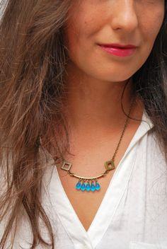 Rustic bronze necklace, Turquoise necklace, Gypsy necklace, Hippie beads necklace, boho jewelry, geometric necklace, Delicate jewelry