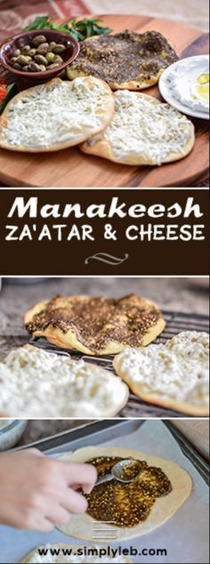 Manakeesh are a very popular Levantine food consisting of a flatbread topped with a variety of possible toppings such as za'atar, cheese, an onion and tomato mixture, or keshek.
