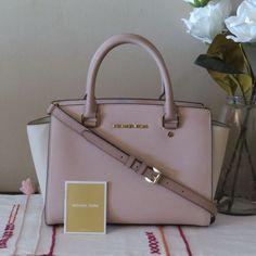 693fda415f6ba Michael Kors Medium Selma Colorblock Soft Pink Fawn Ecru Satchel Saffiano  $328 #MichaelKors #Satchel