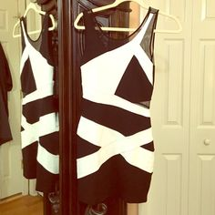 Bebe Bodycon Black and White Dress Sz Xs New without tags! Never worn bebe Dresses