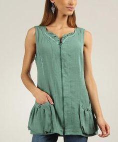 Green Ruffle Zip-Up Sleeveless Top by Ana Oliva