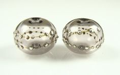Sepia Fine Silver Droplet Hollow Lampwork Glass by AlishaWhite