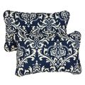 Deep Blue Damask Corded 13 x 20 inch Indoor/ Outdoor Throw Pillows (Set of 2) | Overstock.com Shopping - The Best Deals on Outdoor Cushions ...