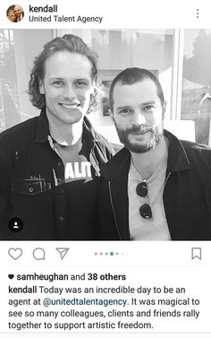 Sam Heughan of Outlander and Jamie Dornan of Fifty Shades of Grey and The Fall