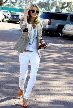 white jeans + blazer + orange heels