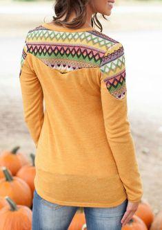 Print Long Sleeve Casual Blouse - Fairyseason