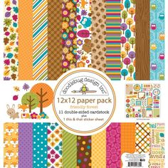 Item:4380  friendly forest 12x12 paper pack