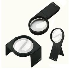 Eschenbach Visoflex combination hand and stand magnifier. The Eschenbach Visoflex is a combination hand and stand magnifier which makes it very versatile and useful for a variety of situations.  It has a fixed 2.5x magnification and can be held comfortably in one hand or reconfigured into two different styles of free-standing stand magnifier.