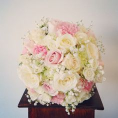Rose,carnations,babies breath ,pastel posy bouquet ,wedding flowers