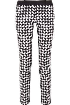 MICHAEL Michael Kors|Houndstooth-print stretch-cotton skinny pants|NET-A-PORTER.COM