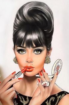 Pin by 🌸 niki chan 🌸 on makeup art in 2019 Fashion Sketches, Fashion Illustrations, Vintage Illustrations, Roll Hairstyle, Pin Up Art, Beauty Art, Pencil Art, Belle Photo, Makeup Art