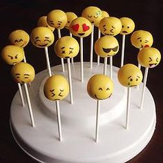 Emoji Emoticon Cake Pops www. Emoji Cake Pops, Emoji Pop, Yummy Treats, Sweet Treats, Cake Pop Designs, Cakepops, Bake Sale, Cute Cakes, Creative Cakes