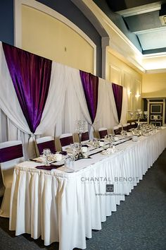 Purple Wedding Reception Ideas Head Table