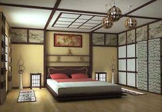 Unique Japanese Bedroom for Your Home. Japanese bedroom design style has unique characteristics. Japanese interior is about how to design the space that blends with nature. Modern Japanese Interior, Asian Interior, Japanese Interior Design, Home Interior Design, Asian Design, Interior Ideas, Modern Asian, Japanese Modern, Traditional Interior