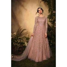 Buy Gowns - Discover the wide range of designer gowns online Floor Length Gown, Pink Gowns, Gowns Online, Sharara, Neck Pattern, Designer Gowns, Festival Party, Range, Elegant