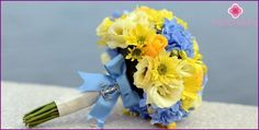 Modrá svatební kytice - jak vybrat a kombinovat svatební květiny, fotografie
