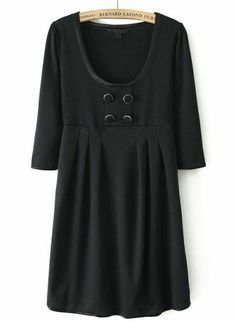 Black Long Sleeve Buttons Pleated Dress pictures